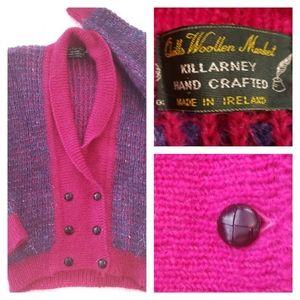 Vtg Quills Woolen Market Cardigan Sweater Fuzzy